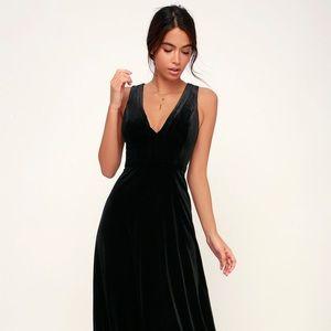 NWT Lulus Night Black Velvet Sleeveless Maxi Dress